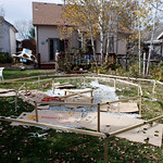 The framework used to launch a balloon stands in the backyard of the home of Richard and Mayumi Heene in Fort Collins,, Colo., Sunday, Oct. 18, 2009. The Heenes reported that their 6-year-ol …