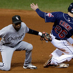 Cleveland Indians' Trevor Crowe (26) steals second base as Chicago White Sox shortstop Alexei Ramirez makes the late tag in the third inning of the second game of a baseball doubleheader Wed …