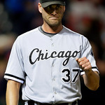 Chicago White Sox relief pitcher Matt Thornton celebrates after the final out in the second game of a baseball doubleheader against the Cleveland Indians, Wednesday, Sept. 30, 2009, in Cleve …