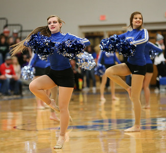 Rachel Urig (left) and Courtney Santa (right) of the Midview Skippers dance team perform during halftime of the DiFranco Tournament at Midview. Photo by Ray Riedel