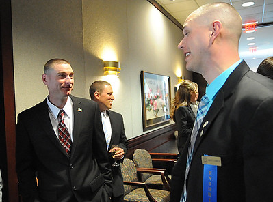 Adam Larrick, left, with Brett Larrick, at the Elyria Sports Hall of Fame induction banquet at LCCC on May 4.    Steve Manheim