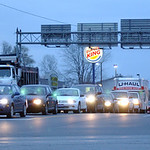 Traffic lines-up at N. Abbe Rd and Detroit Rd in Sheffield Nov. 19.  Steve Manheim/CT