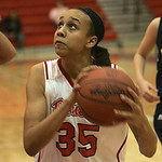 18JAN12  N. Ridgeville girls travel to Elyria High School.  Lady Pioneer #35 is Alexis Middlebrooks.      photo by Chuck Humel