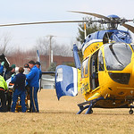Lifeflight and Wellington fire crews get a man loaded into the helicopter. It was reported that an employee on a train passing through Wellington was found unconcious. He was taken to a fiel …