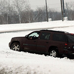 A vehicle slid off the exit ramp to Rt. 57 from I-90 on Mar. 11.   Steve Manheim