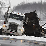 A truck overturned on Rt. 90 east near Rt. 611 exit in Avon on Mar. 11.  Sheffield Lake police were at scene.   Steve Manheim