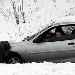 This car went off the road on the exit ramp from Middle Ridge Rd. to Rt. 90 on Mar. 11.   Steve Manheim