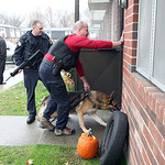 9nov11bishop— Elyria Police officers enter an apartment in Wilkes Villa where the primary suspect in a shooting was found hiding in an upstairs bedroom. The shooting stretched across a cou …