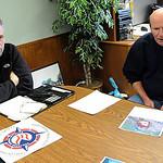 Lorain Police Sgt. Tom Nimon, left,and Chief Deputy Dennis Cavanaugh, announce a  large PCP bust,  at Lorain County Sheriff's Office on Mar. 26.    Steve Manheim