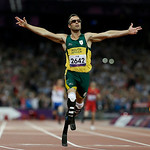 FILE – In this Saturday, Sept. 8, 2012 file photo, South Africa's Oscar Pistorius wins gold in the men's 400-meter T44 final at the 2012 Paralympics, in London. Pistorius has been arrested a …