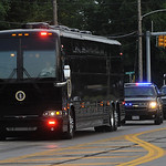 President Obama motorcade bus travels on Leavitt Rd. to Rt. 2 in Amherst on July 5.  Steve Manheim