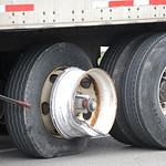 The tire on this semi-tractor trailer clipped a car on Rt. 83.  Steve Manheim