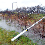 The netted fencing at All Pro Freight Stadium  along Rt. 90 was knocked down by the storm on Oct. 30.    Steve Manheim