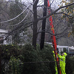 Ohio Edison lineman work on a power line on Lake Ave. Oct. 30.  Steve Manheim