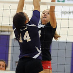 Brookside 4 Tyller Holley blocks a shot by Keystone 14 Darcy Irish Oct. 4.  Steve Manheim