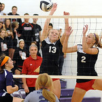 Keystone 5 Sarah Hasel hits a shot past Brookside 13 Kady Whitsel and 2 Shelby Kerstetter on Oct. 4.   Steve Manheim