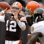 Cleveland Browns quarterback Colt McCoy (12) throws a pass during the first quarter against the Cleveland Browns during their NFL football game on Sunday, Dec. 26, 2010, in Cleveland. (AP Ph …