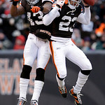 Cleveland Browns safety T.J. Ward (43) celebrates an interception by cornerback Joe Haden (23) in the third quarter of an NFL football game against the Baltimore Ravens, Sunday, Dec. 26, 201 …