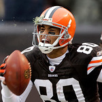 Cleveland Browns wide receiver Brian Robiskie celebrates a 29-yard touchdown catch against the Baltimore Ravens in the first quarter of an NFL football game on Sunday, Dec. 26, 2010, in Clev …