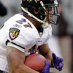 Baltimore Ravens running back Ray Rice runs against the Cleveland Browns in the third quarter of an NFL football game Sunday, Dec. 26, 2010, in Cleveland. Rice carried 25 times for 95 yards  …