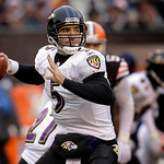 Baltimore Ravens quarterback Joe Flacco (5) looks to throw against the Cleveland Browns during first-quarter NFL football game action on Sunday, Dec. 26, 2010, in Cleveland.  (AP Photo/Tony  …