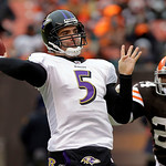 Baltimore Ravens quarterback Joe Flacco (5) fires a pass against a rush from Cleveland Browns cornerback Sheldon Brown (24) in the third quarter of an NFL football game Sunday, Dec. 26, 2010 …