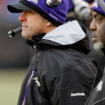 Baltimore Ravens head coach John Harbaugh, left, watches from the sidelines in the fourth quarter of the Ravens' 20-10 win over the Cleveland Browns in an NFL football game Sunday, Dec. 26,  …
