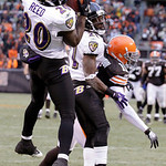 Baltimore Ravens safety Ed Reed (20) intercepts a pass intended for Cleveland Browns wide receiver Mohamed Massaquoi (11) in the fourth quarter of their NFL football game on Sunday, Dec. 26, …
