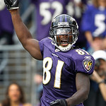 Baltimore Ravens wide receiver Anquan Boldin celebrates in the closing minutes of the NFL football game against the Cleveland Browns in Baltimore, on Sunday, Sept. 26, 2010. The Ravens won 2 …