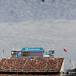 F-16s with the Ohio Air National Guard, 180th Fighter Wing from Toledo, Ohio fly over Cleveland Browns Stadium before an NFL football game between the Browns and New England Patriots Sunday, …