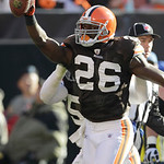 Cleveland Browns safety Abram Elam (26) celebrates a fumble recovery against the New England Patriots in the second quarter of an NFL football game  Sunday, Nov. 7, 2010, in Cleveland. (AP P …