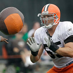 Cleveland Browns center Alex Mack works a drill with a medicine ball during the Browns NFL football training camp in Berea, Ohio,  on Wednesday, Aug. 4, 2010.  (AP Photo/Amy Sancetta)