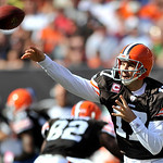 Cleveland Browns quarterback Jake Delhomme throws against the Atlanta Falcons in the second qaurter of an NFL football game Sunday, Oct. 10, 2010, in Cleveland. (AP Photo/David Richard)