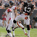 Cleveland Browns safety T.J. Ward (43) celebrates after blocking a 30-yard field goal attempt by Atlanta Falcons'Matt Bryant, left, in the second quarter of an NFL football game Sunday, Oct. …