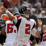 Atlanta Falcons quarterback Matt Ryan throws against the Cleveland Browns  in the first quarter of an NFL football game Sunday, Oct. 10, 2010, in Cleveland. (AP Photo/Tony Dejak)