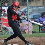 Elyria Haley Looney hits a double in first inning Apr. 11.  Steve Manheim