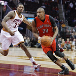 Toronto Raptors' Leandro Barbosa, right, of Brazil, drives past Cleveland Cavaliers' Alonzo Gee (33) in the fourth quarter of an NBA basketball game Wednesday, Jan. 5, 2011, in Cleveland. Ba …