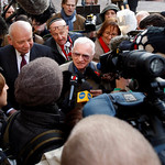 Thomas Blatt, one of the joint plaintiffs during the Demjanjuk trial, centre, talks to the press, at the country court building in Munich, southern Germany, on the first day in the Demjanjuk …
