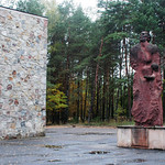 FILE – In this photo taken Oct. 11, 2003, a monument commemorating the estimated 250,000 people who were killed at the Nazi death camp of Sobibor is seen on the former camp grounds in Sobibo …