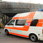 A medical vehicle carrying defendant John Demjanjuk, arrives in front of a gateway of the country court in Munich, southern Germany, Monday, Nov. 30, 2009. John Demjanjuk goes on trial Monda …