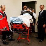 Alleged former concentration camp guard John Demjanjuk arrives at the court room for his trial in Munich, southern Germany, on Tuesday, Dec. 1, 2009. Demjanjuk goes on trial on charges of be …