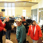 Residents walk through the media center in the new Elyria High Oct. 22.  Steve Manheim
