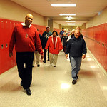 Jammel Dickerson, principal of team III at Elyria High, gives a tour of the new school  to residents and members of the community on Oct. 22.   Steve Manheim