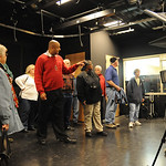 Jammel Dickerson, principa of team III at Elyria High, shows the TV studio on a tour  of the new Elyria High Oct. 22.   Steve Manheim