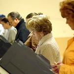 Voters at Our Lady Queen of Peace Church in Grafton , where two voting machines were added election eve.   Steve Manheim
