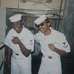 15 Minutes subject William Slay, left, and shipboard friend Willie Merriweather of Cleveland. It was Merriweather's family that sent news that Carl Stokes was elected the first black mayor o …