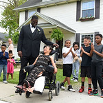 KRISTIN BAUER | CHRONICLE Elyria High School senior Elna Wright, 17, leaves her family home, in Elyria, with Cleveland Browns football guard Cameron Erving on Saturday evening, May 7.