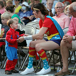 "ANNA NORRIS/CHRONICLE Dressed as Spiderman and Wonder Woman, Julian Ingersoll, 2 1/2, and his mother Audrey Ingersoll, dance to the music from Disney's ""Frozen"" performed by The Cleveland Po …"