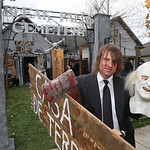 Rodger Deering, 35, of 420 Alexis in Elyria has one of the most popular haunts in Elyria. More kids pass by the house than actually approach it for candy. Here he is out side his elaborate d …