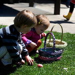 Ellie White, 18 months, and her brother, Jack, 3, both of Avon, count their Easter eggs at the Avon Veterans of Foreign Wars Post 7035 egg hunt on Saturday afternoon. KRISTIN BAUER/CHRONICLE